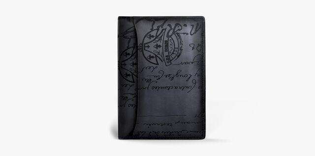 Jagua Small Scritto Leather Card Holder, NERO, hi-res
