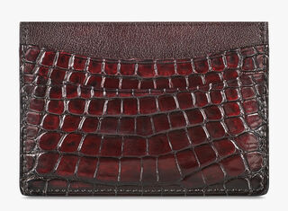 Bambou Alligator Leather Card Holder, ROSSO, hi-res