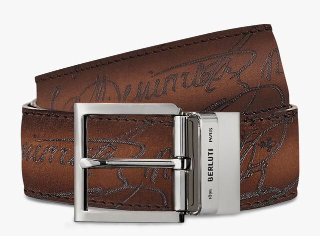 Venezia  Scritto leather 35 MM Belt , NERO GRIGIO + MOGANO, hi-res