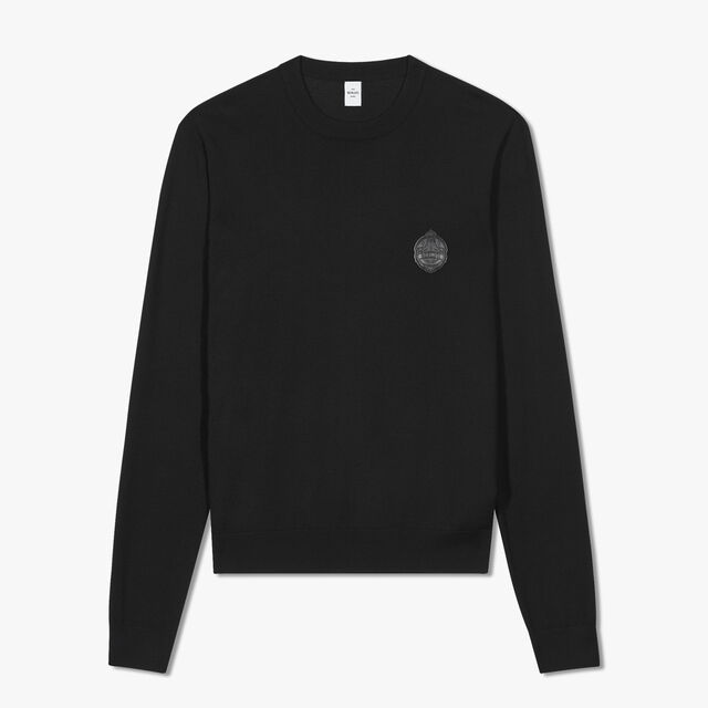 Wool Sweater With Leather Crest, NOIR, hi-res