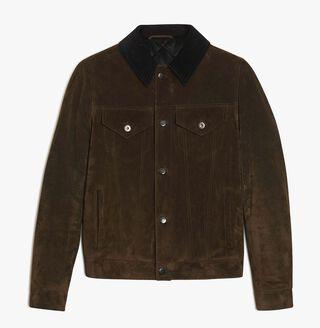 Suede Calf Leather Jacket, KAKI, hi-res