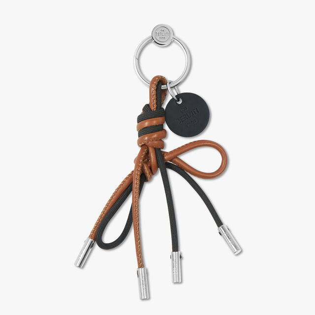 Cotton And Leather Berluti Knot Key Ring, BLACK + BROWN, hi-res
