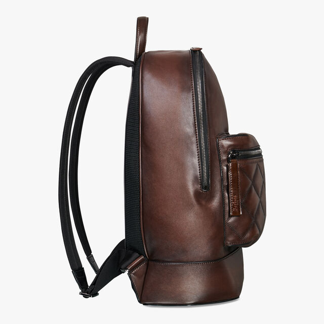 Volume Biker Medium Leather Backpack, BRUN, hi-res