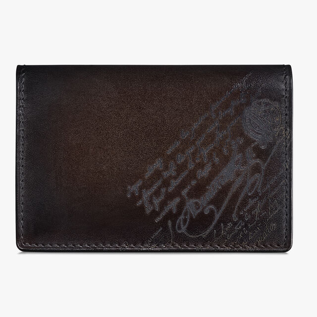 Imbuia Scritto Leather Card Holder, ICE BLACK, hi-res