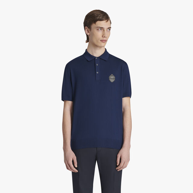 Wool Polo-Shirt With Leather Crest, SPACE BLUE, hi-res