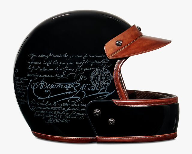 Helmet Scritto Carbon And Leather Helmet, BRUN, hi-res