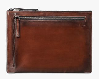Band Leather Clutch, MOGANO, hi-res