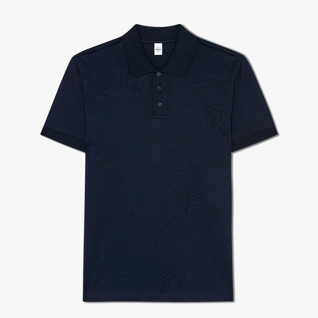 常规剪裁的短袖提花Scritto POLO衫, CAOS NIGHT, hi-res
