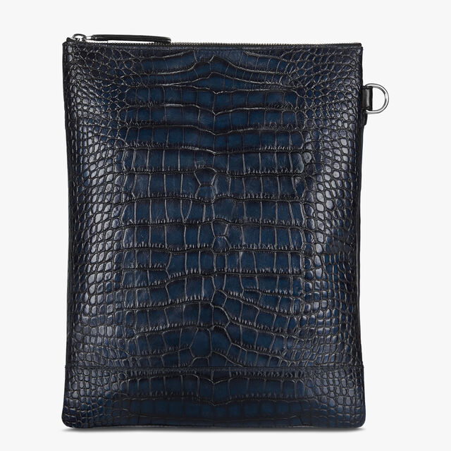 Solo Small Alligator and Calf Leather Messenger Bag, NERO BLU, hi-res