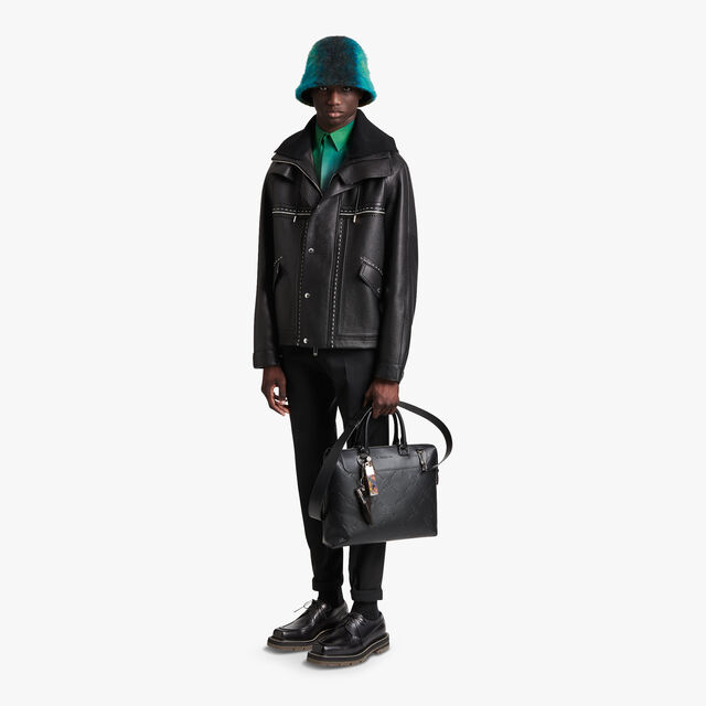On Time Leather Briefcase, BLACK, hi-res