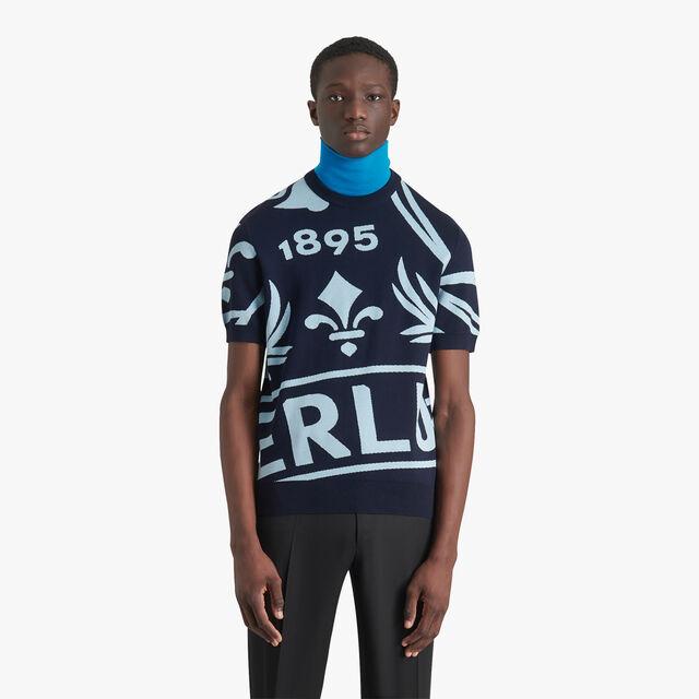 Jacquard Crest Short Sleeve Sweater, MEDITERRANEAN BLUE, hi-res