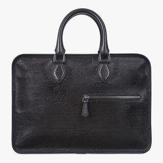 Un Jour Calf Leather Briefcase, NERO GRIGIO, hi-res