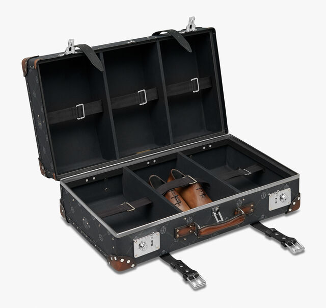 Globe-Trotter Shoe Trunk Luggage Canvas And Leather Suitcase, BLACK+TDM INTENSO, hi-res