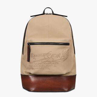 Volume Large Canvas & Leather Backpack, BEIGE, hi-res