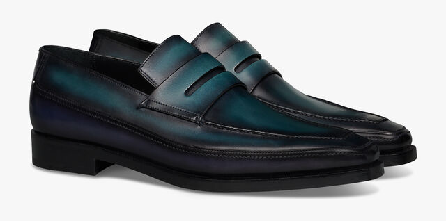 Andy Demesure Leather Loafer, OCEANIC WAVE + ALPINE GREEN, hi-res