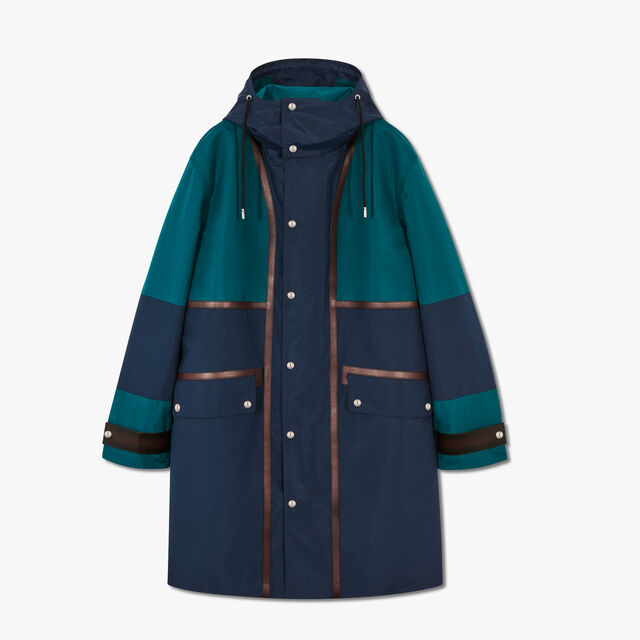 Unlined Nylon Parka With Leather Details, ALPINE GREEN / OCEANIC WAVE, hi-res