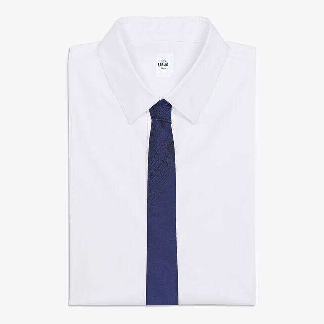 6 cm Jacquard Scritto Silk Tie, INFINITY BLUE, hi-res