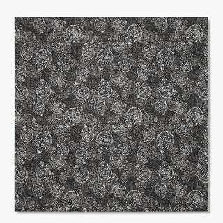Printed Crest Silk Scarf