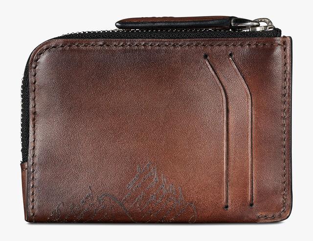 Corner Epure Medium Scritto Leather Zipped Card Holder, MOGANO, hi-res