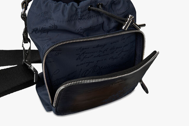 Hike On Mini Nylon and Leather Scritto Messenger Bag, BURNT BLUE, hi-res