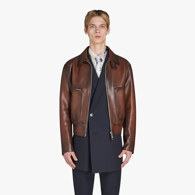 转色皮革外套, BRUN, hi-res