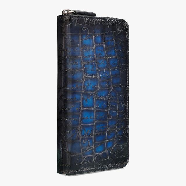 Itauba Scritto Leather Patina Illusion Zipped Wallet, DEEP ROTHKO, hi-res