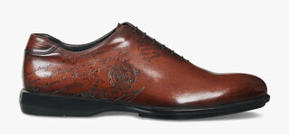 Amadeo Perugia Engraved Calf Leather Oxford, MOGANO, hi-res
