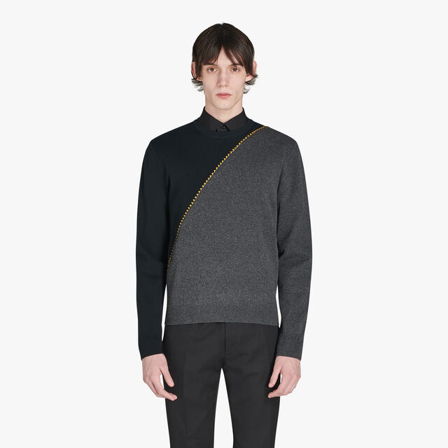 Regular Fit Long Sleeves Wool Sweater With Embroidered Leather, DARK TIMES, hi-res