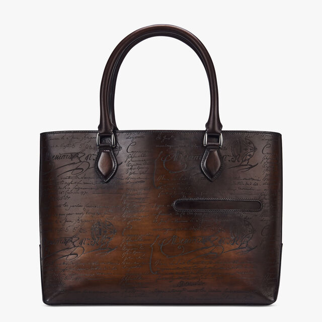 Toujours Scritto Leather Tote Bag, TOBACCO BIS, hi-res