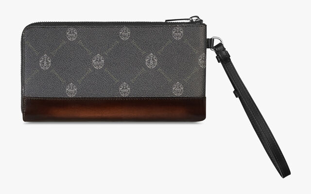 Nino Medium Canvas And Leather Pouch, BLACK+TDM INTENSO, hi-res