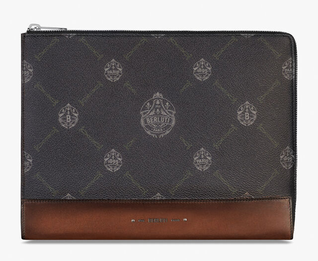 Nino Volume Canvas and Leather Clutch, BLACK+TDM INTENSO, hi-res