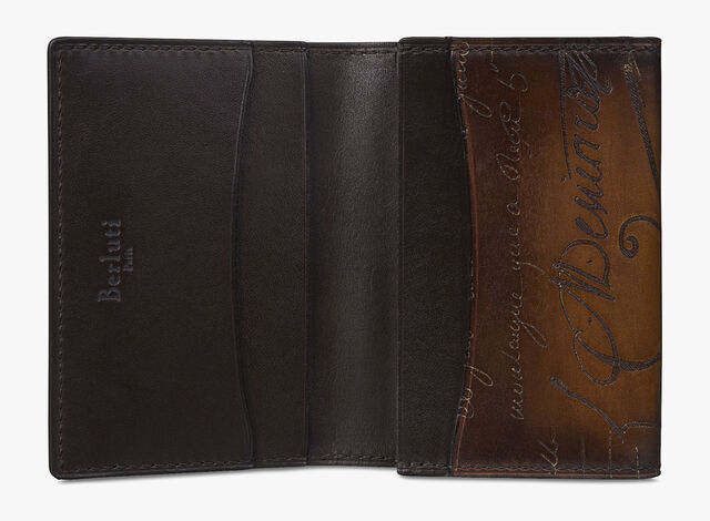 Imbuia Scritto Leather Card Holder, TOBACCO BIS, hi-res