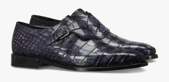 Scars Demesure Alligator Leather Buckle Shoe, NERO GRIGIO, hi-res