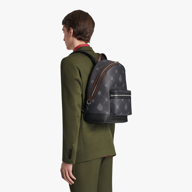 Explorer Medium Canvas And Leather Backpack, BLACK+TDM INTENSO, hi-res