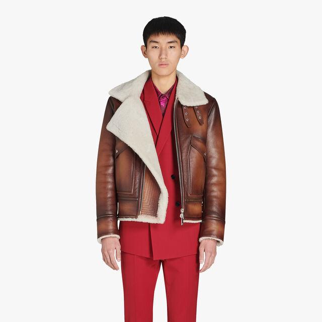 有毛羊皮领的转色鹿皮外套, BRUN, hi-res