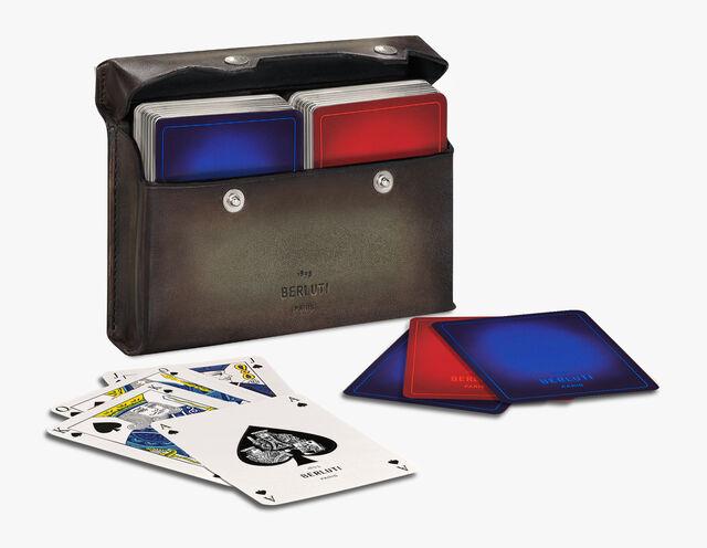 扑克牌套装和皮盒及纸牌, ICE BROWN, hi-res