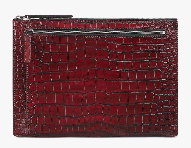 Band Large Alligator Leather Clutch, BLOOD, hi-res