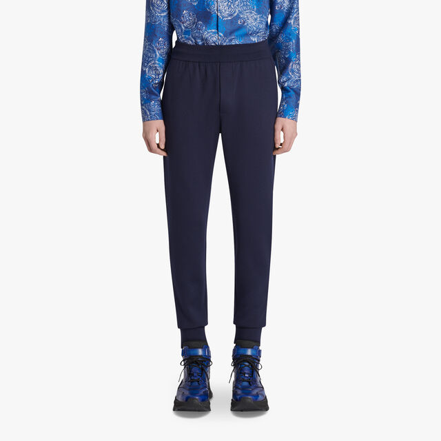 Double Face Knit Jogging Trousers, SPACE BLUE, hi-res