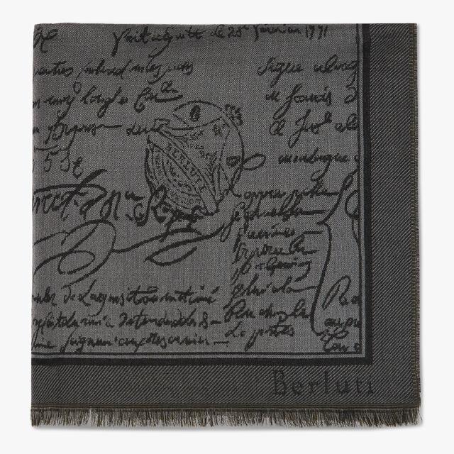 Wool & Silk Scritto Scarf, EMPIRE GREEN, hi-res
