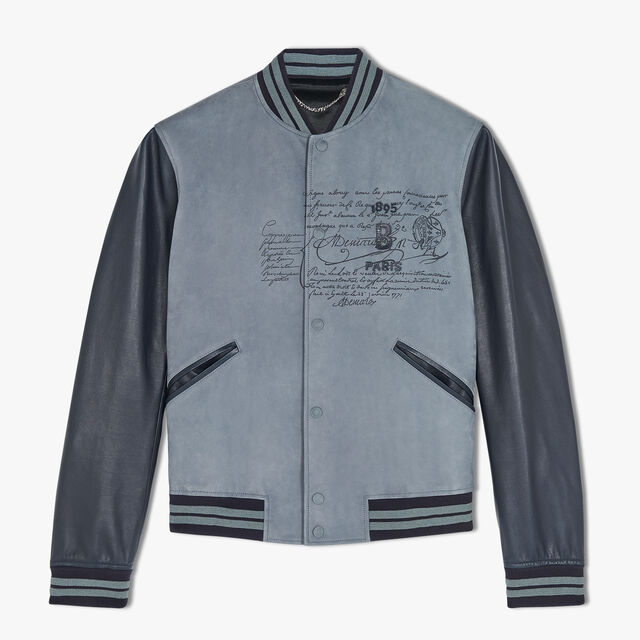 Scritto Leather Bomber Jacket, LEAD, hi-res