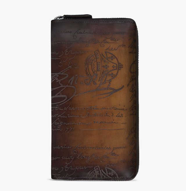 Itauba Scritto Leather Long Zipped Wallet, TOBACCO BIS, hi-res