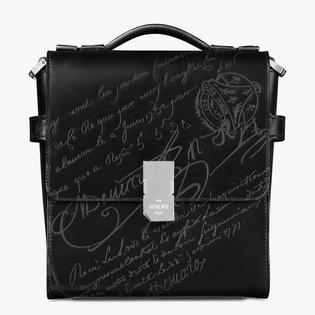 Prisme Scritto Leather Messenger Bag, BLACK, hi-res