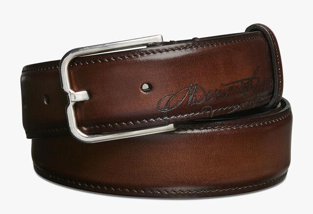 Essence Scritto Leather Belt - 32 mm, MOGANO, hi-res