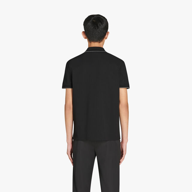 자수 로고 장식의 레귤러 핏 반팔 코튼 폴로 셔츠, NOIR, hi-res