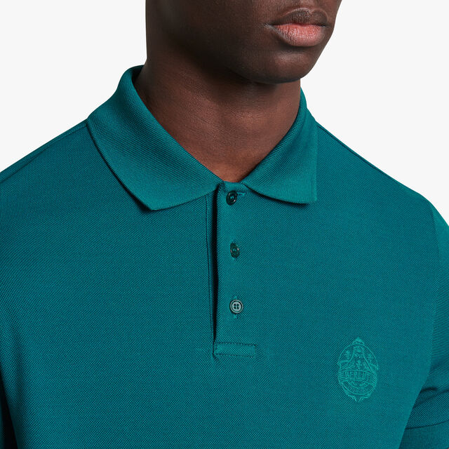 Polo Shirt With Embroidered Crest, ALPINE GREEN, hi-res