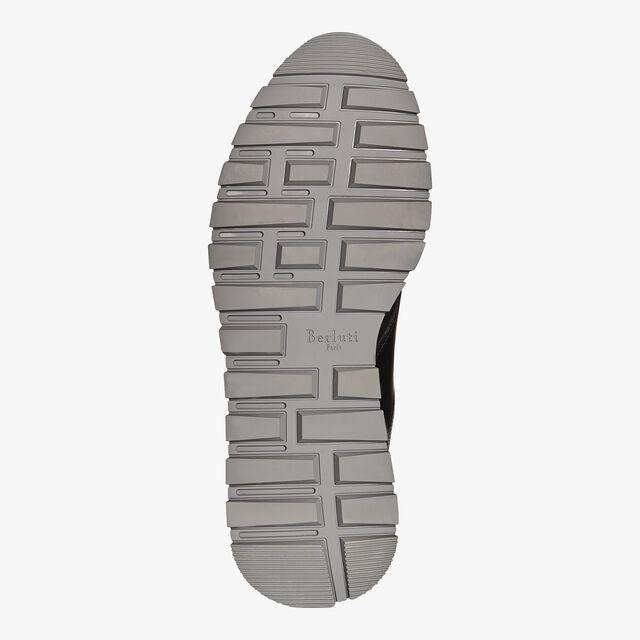 Run Track Torino Glazed Calf Leather Sneaker, NERO/GREEN, hi-res
