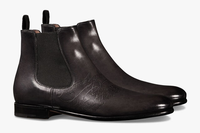 Cursive Galet Scritto Leather Boot, NERO GRIGIO, hi-res