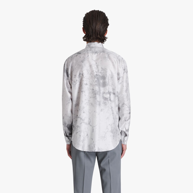 Marble Printed Silk Shirt, ICE GREY, hi-res