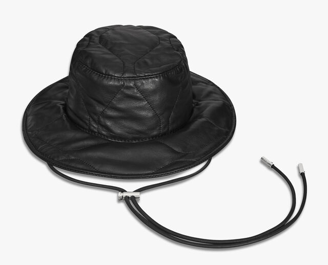 Quilted Leather Bucket Hat, NOIR, hi-res