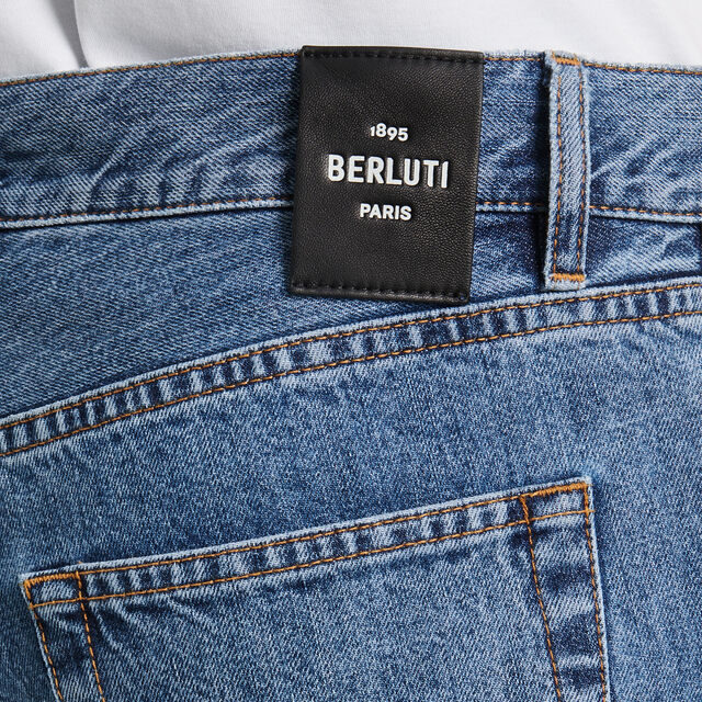 Denim Trousers With Scritto, SNOW BLUE, hi-res